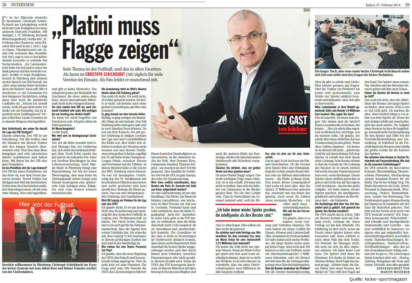 Christoph Schickardt zu Gast beim kicker-sportmagazin
